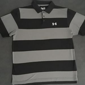 Under Armour Mens Heat Gear Polo Shirt Black Gray